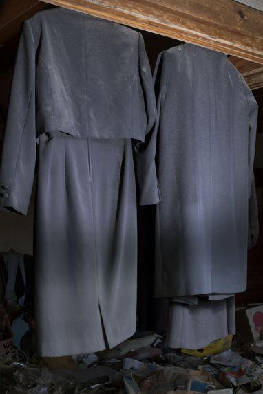Clothes hanging in abandoned house, Namie, Fukushima
