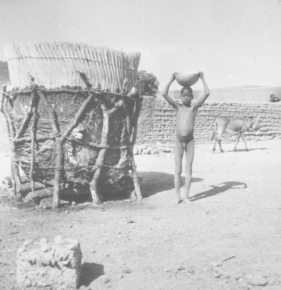 Grenier en paille tressée pour les haricots (décoiffé)