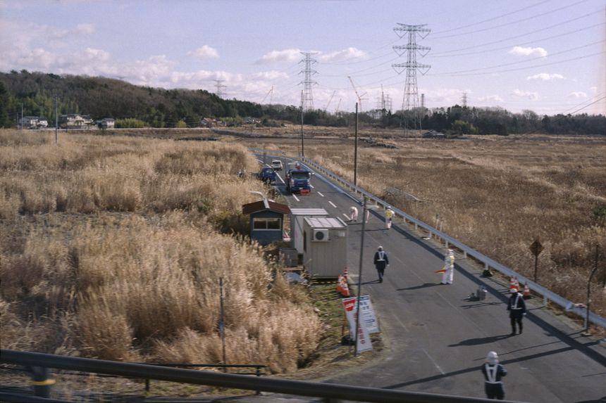 Police offers guarding closed area by high radioactivity, Futaba, Fukushima