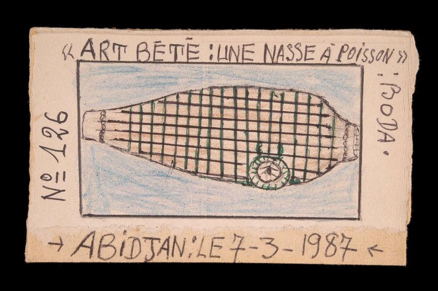 Dessin : Art Bété : une nasse à poisson : boda