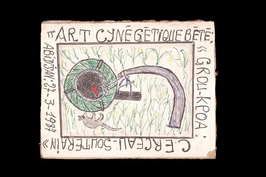Dessin : Art cynégétique Bété : grou-kpoa : cerceau-souterain
