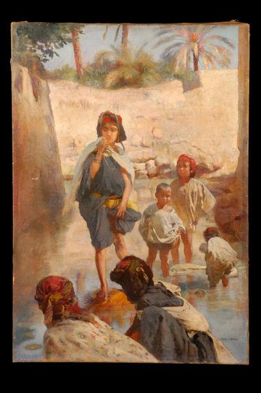 Blanchisseuses arabes dans la seguia de Biskra