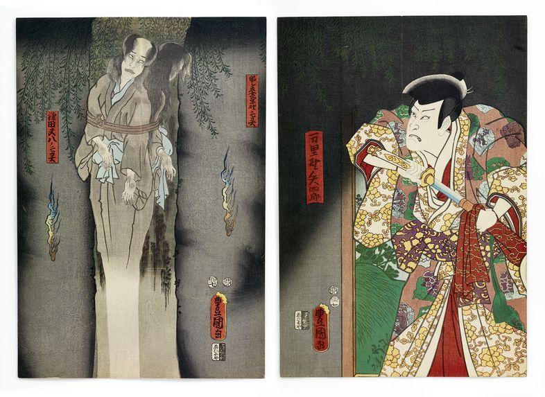 "Estampes, diptyque, ""Le fantôme de Kamata Matahachi"" d'Utagawa Kunisada"