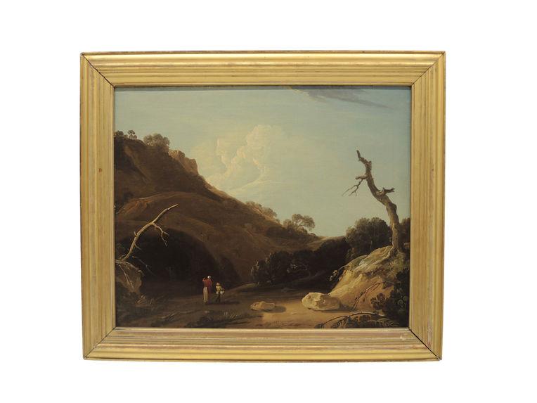 Paysage indien avec personnages devant une grotte