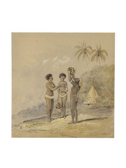 Deux femmes et un homme, village d'Achio [Heo], Ouvéa