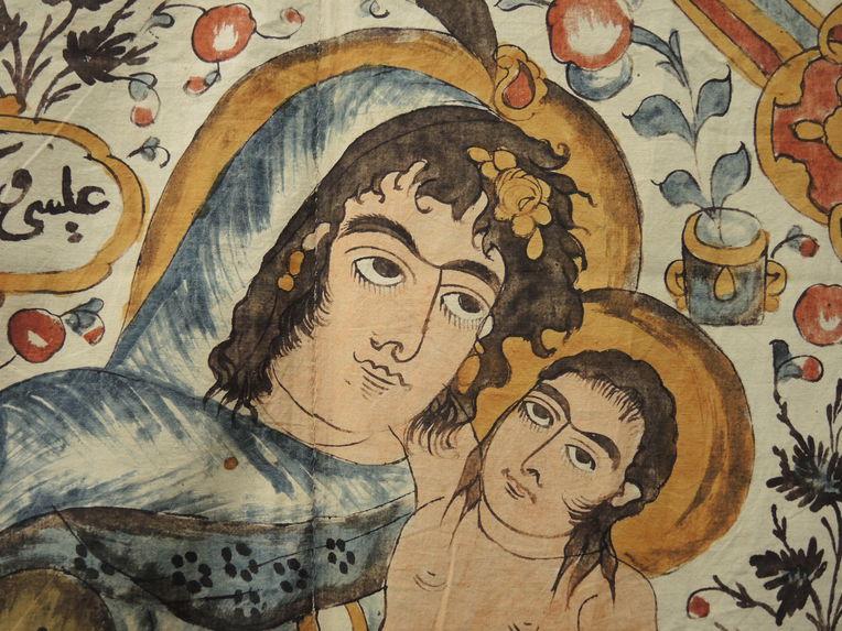 Tenture représentant la Vierge à l'Enfant