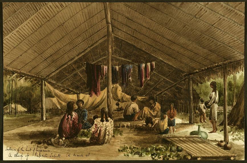 Intérieur de la maison du chef Eifenua