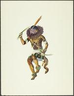Sans titre [Katsina tihu portant un masque avec plumes orange sur la tête et...