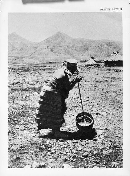 Bantou : fabrication du beurre (tribu basotho du sud)