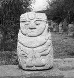 Bande film de 3 vues concernant des sculptures en pierre du musée de Huaraz