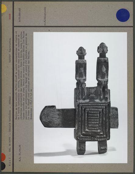 """Serrure """"dogon"""" : coffre décoré de carrés"""
