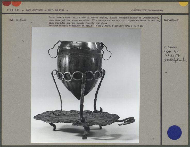 Grand vase à maté, calebasse ovoïde