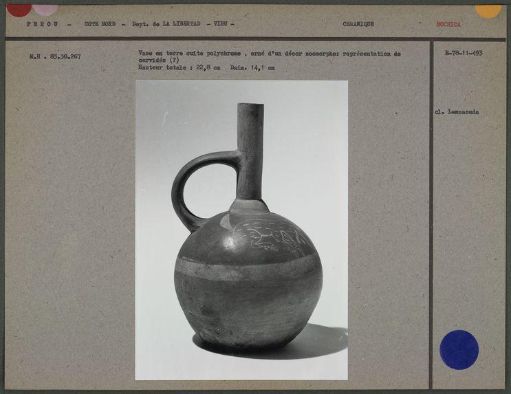 Vase en terre cuite polychrome