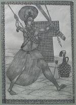 Sans titre [Dessin représentant le guerrier Nji Ndam Mandu]