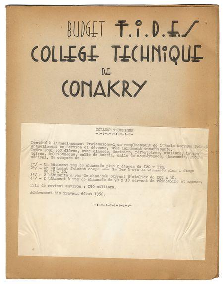 Budget F.I.D.E.S. collège technique de Conakry