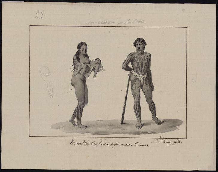 Tamor des Carolines et sa femme vus à Tinian