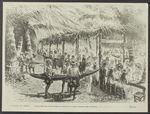 Banquet offert par la reine Pomaré aux officiers de la frégate française, dans...