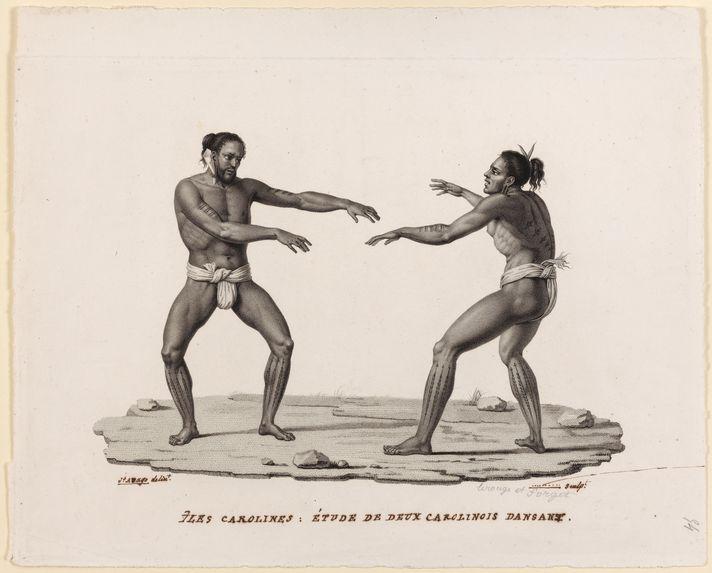 Iles Carolines : Etude de deux carolinois dansant