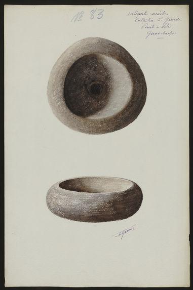 Antiquités Caraïbes. Collection L. Guesde. Pointe à Pitre. Guadeloupe [mortier ou récipient]