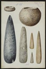 Antiquités Caraïbes. Collection L. Guesde. Pointe à Pitre. Guadeloupe [haches et...