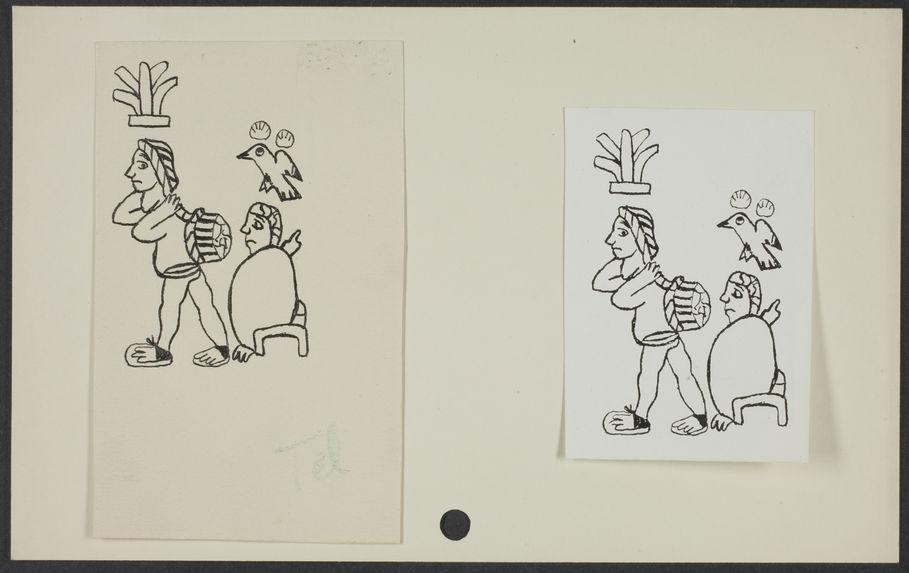Sans titre [deux dessins représentant deux personnages et un oiseau]