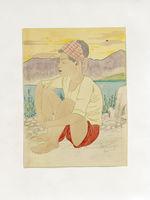 Jeune indigène de Ponape. Couché de soleil