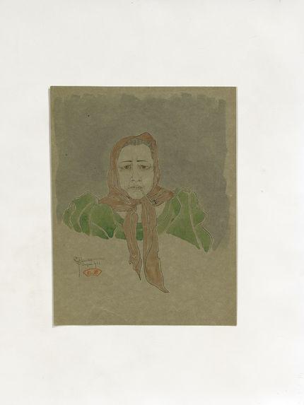 Portrait de la vieille Guerrero fumant la pipe