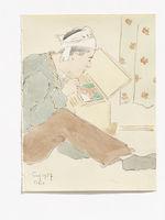 A man, putting on a headband [un  homme avec un bandeau]