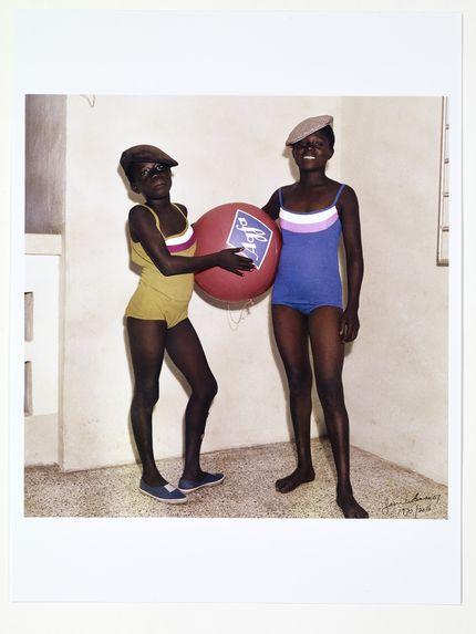 Mavis and Mary Barnor with Agfa advertising ball